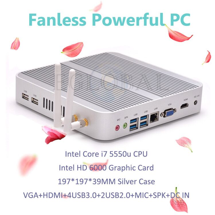 Fanless Mini PC Windows 10 Desktop Computer Nettop Barebone System TV Box Core I7 5550U HTPC HD6000 Graphics 4K 300M WiFi
