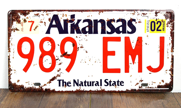 SP-CP-0155 car License Plates number About  Arkansas 989-EMJ  Retro Vintage Metal tin signs Wall art craft painting 15x30cm