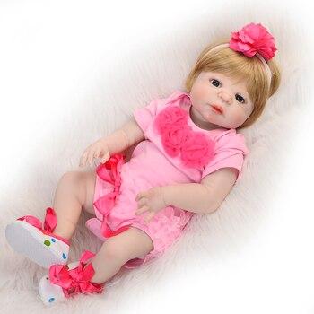 Bebes reborn princess blond girl silicone doll 57cm newborn babies alive doll gift bebe doll reborn corpo de silicone inteiro
