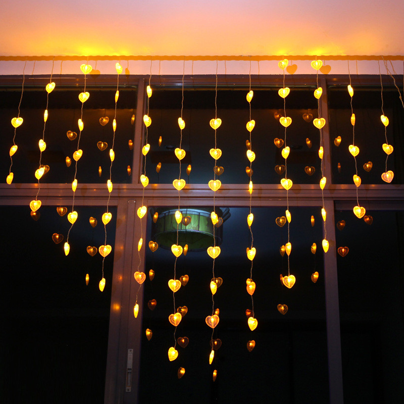 78 Hearts Led curtain light 1.5*2M with Remote 8 Light Modes DIY decoration for Bedroom,Patio,Garden,Gate,Yard,Party,Wedding