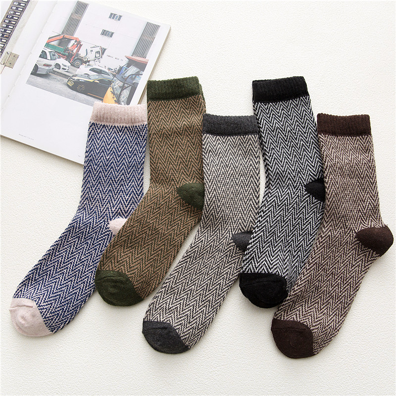 Winter New Men's Harajuku Retro Thick Warm High Quality Wool Socks Fashion Cotton Thick Line Casual Socks 5 Pairs
