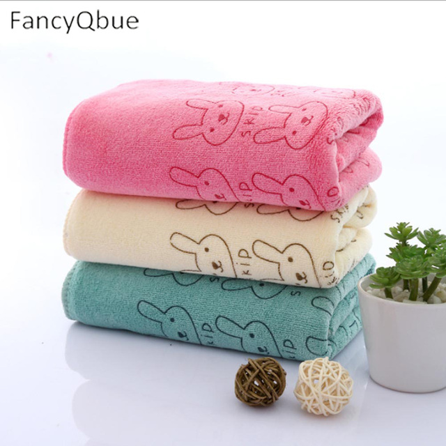 1 Piece Cartoon Microfiber Fabric Hand Towel Rabbit Superfine Fiber Bath Towel Printed Quick Dry Hair Face Towel 35*75cm