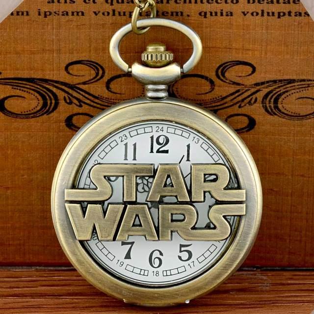 New Arrivals Bronze Star Wars Hollow Quartz Pocket Watch Vintage Men Women Penda