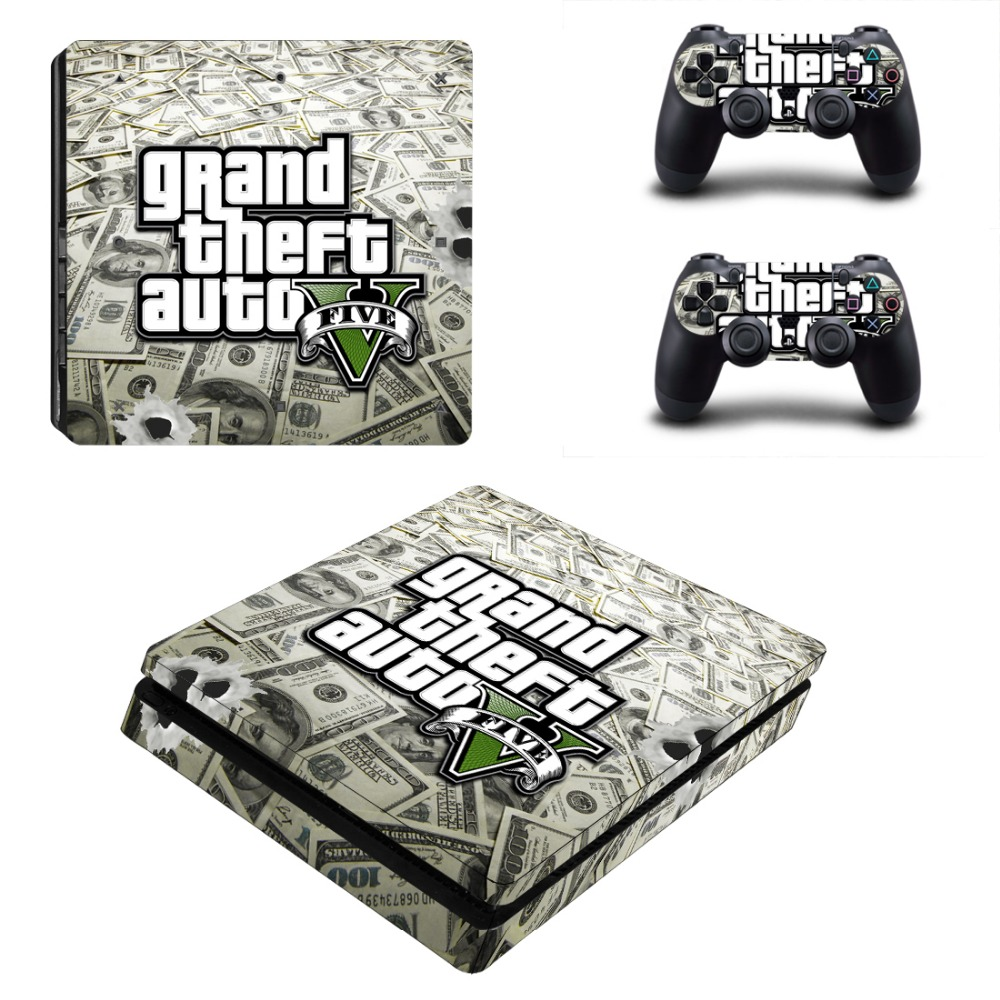 GTA 5 PS4 Slim Sticker PS4 Slim Skin for SonyPlaystation 4 Console and 2PCS Stickers of Controller