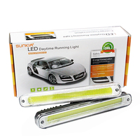 2Pcs Set SUNKIA LED Daytime Running Light COB DRL Car Day Driving Fog Lamp With On
