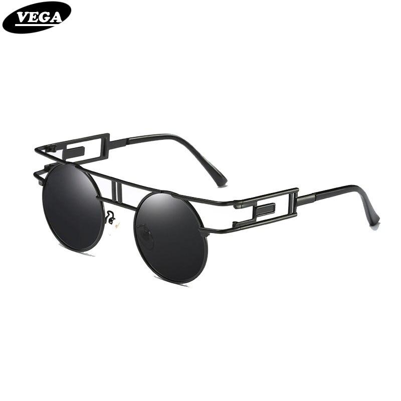 VEGA Polarized Steampunk gafas hombres mujeres ronda Vintage leyenda sol gafas Steampunk gótico Eyewear 393