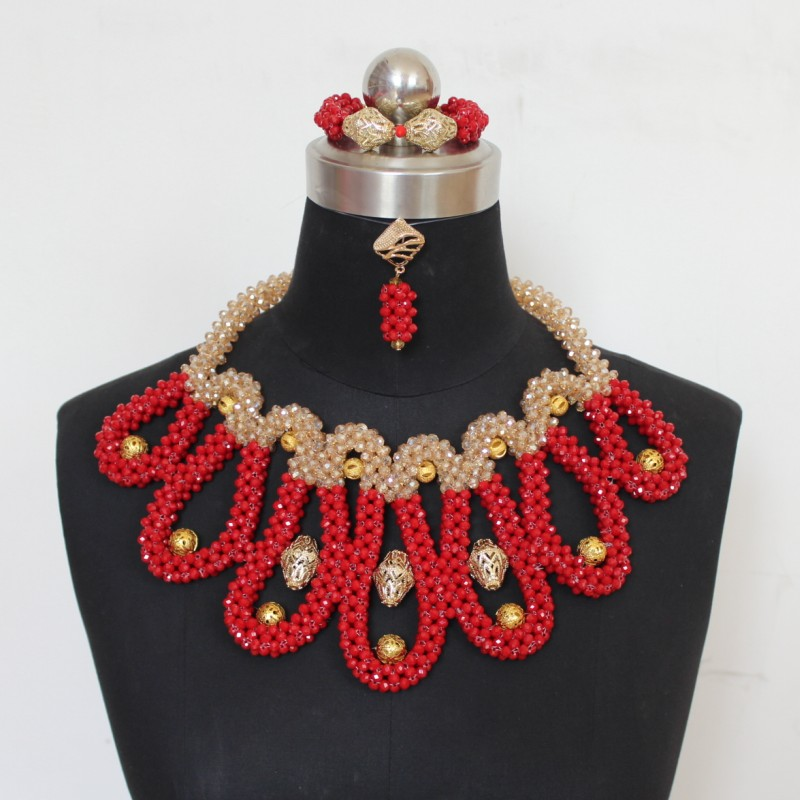 Dudo Luxury Big African Neckalce Red and Gold Dubai Bridal Jewelry Set Crystal Beads Celebrity Wedding Party Jewellery 2019 GiftDudo Luxury Big African Neckalce Red and Gold Dubai Bridal Jewelry Set Crystal Beads Celebrity Wedding Party Jewellery 2019 Gift