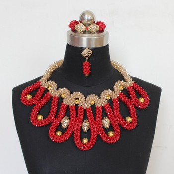 Dudo Luxury Big African Neckalce Red and Gold Dubai Bridal Jewelry Set Crystal Beads Celebrity Wedding Party Jewellery 2019 Gift