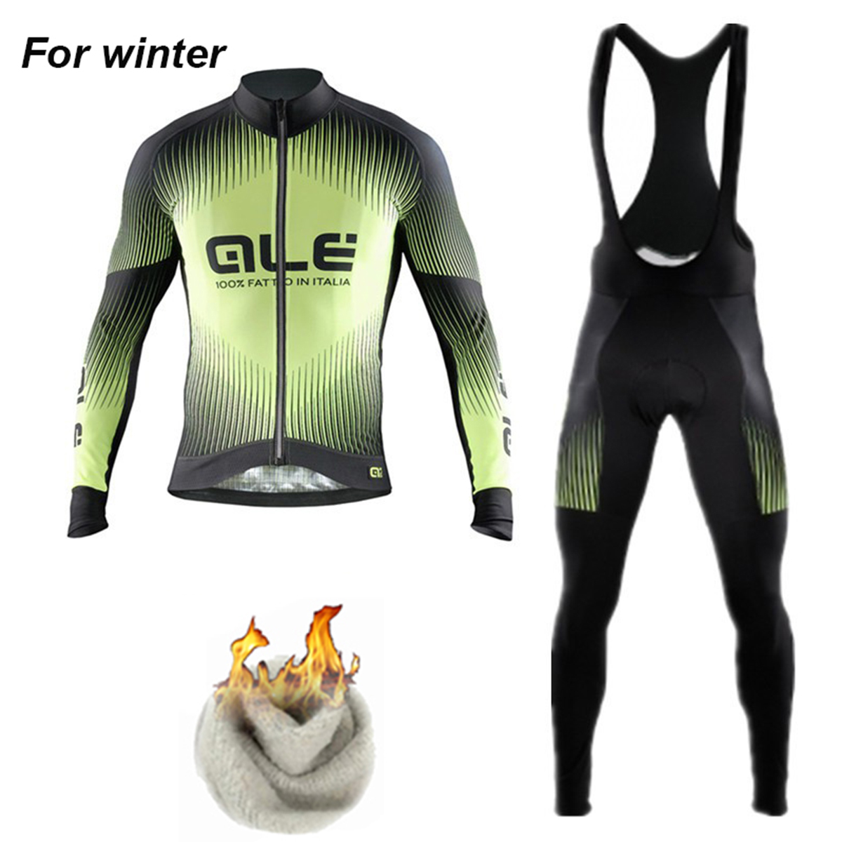 Ale Team 2017 Men`s New Winter Thermal Fleece Cycling Jersey Set Ropa Maillot Ciclismo B ...