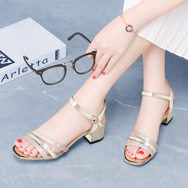 2019 Guciheaven Women Casual Sandals Sequins Sweet Princess Crystal Ankle Mid Heel Block Party Bling Silver Gold Buckle Strap-in Middle Heels from Shoes    1