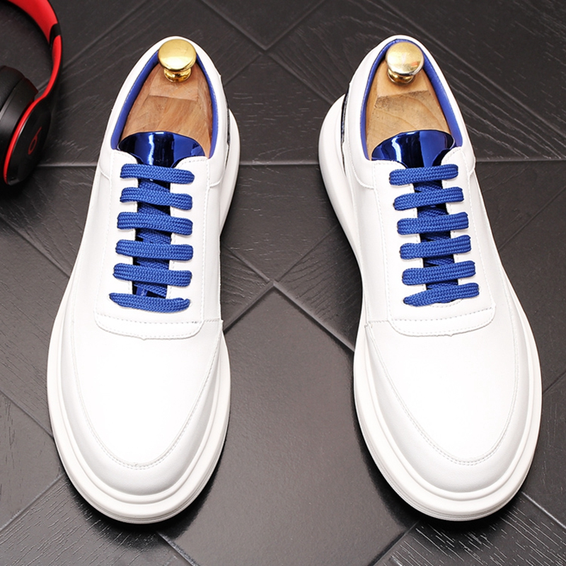 Stephoes nouveaux hommes chaussures de loisir à la mode été en cuir jeunesse tendance respirant blanc chaussures mâle épais fond loisirs baskets