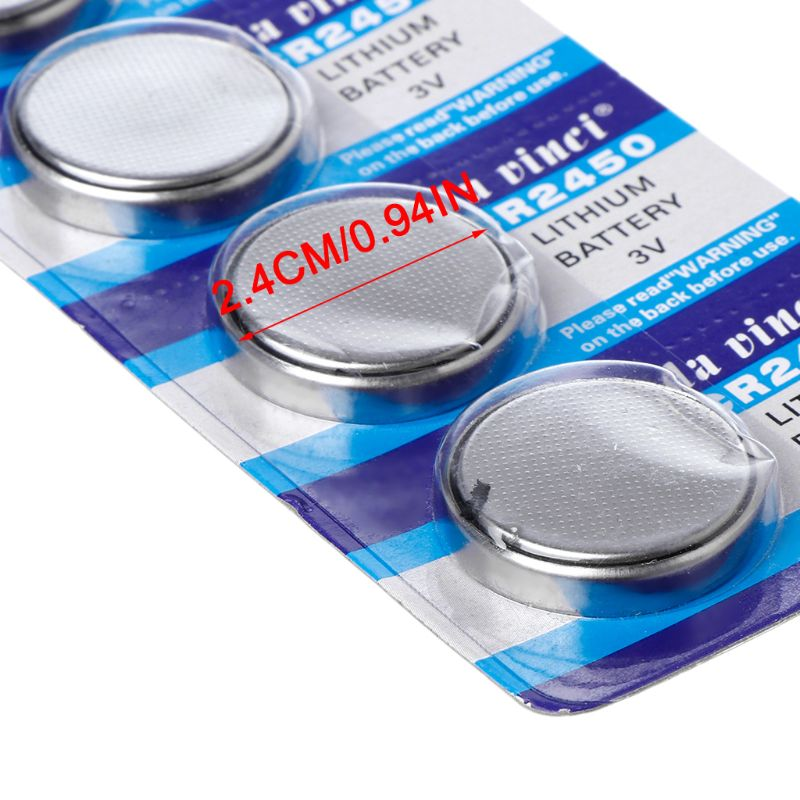 5PCS Button Battery CR2450 Electronic Lithium Coin Cell Batteries 3V KCR2450 5029LC LM2450 Watch Toy Remote