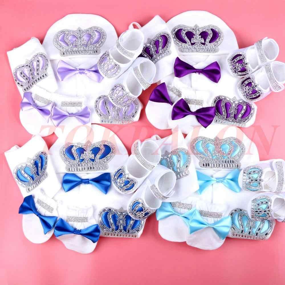 Детский комбинезон с персонажами из мультфильмов; хлопковая одежда для новорожденных мальчиков; белый пижамный комплект со стразами и короной для маленьких мальчиков 0-3 месяцев