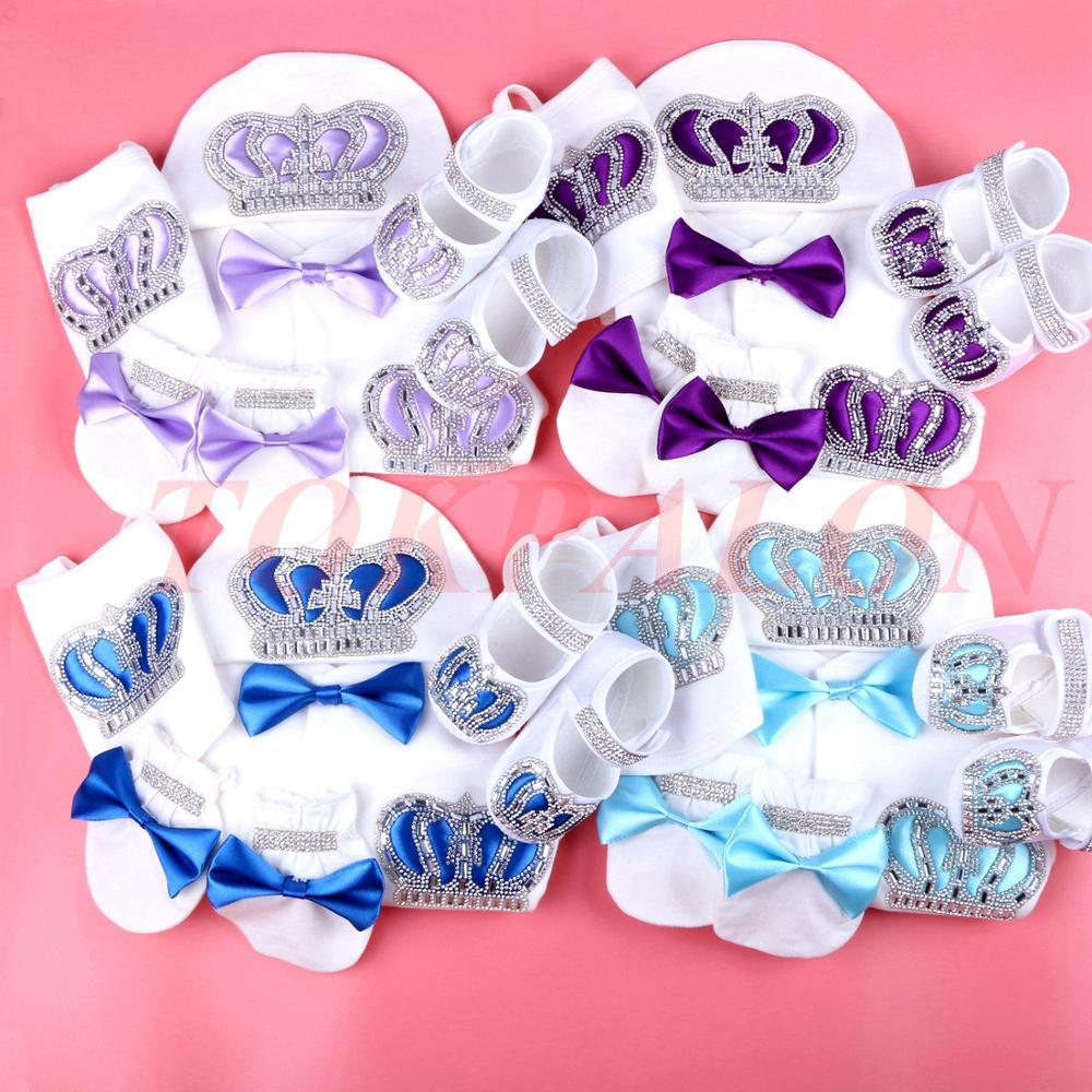 0-3 Month Newborn Baby Clothes Boy Baby Jumpsuit Cotton Rhinestone Crown Jurk Ribbon Jurken White Jurkje Baby Pajamas Set Boy