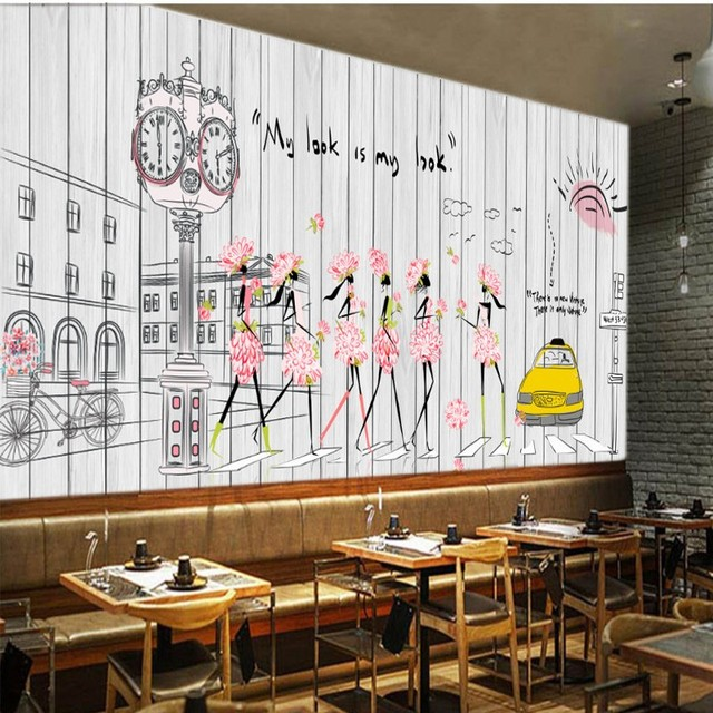Custom mural fashion girl mural hand painted wooden coffee shop background wall mural restaurant studio wallpaper