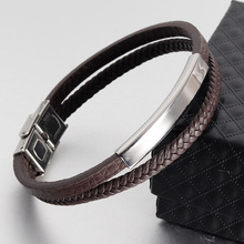 Classic Leather Bracelet Men 2019 New Fashion Titanium Steel Charm Bracelets & Bangles For Jewelry Gift
