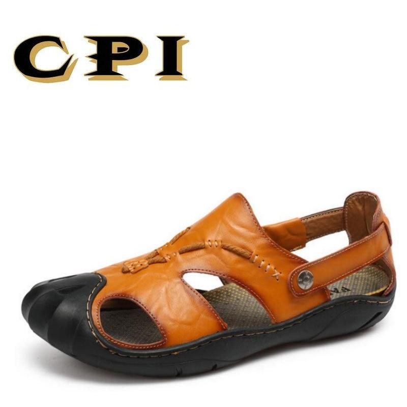 CPI 2018 Summer New Outdoor Beach Men Sandals Genuine Leather Men Comfortable Sandals Mans Non-slip Soft Rubber Sandals VV-10