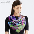 [BAOSHIDI] 16 момме хиджаб Женщин шарф, Большие Квадратные Шарфы, шарфы люксовый бренд, оригинальный дизайн Шаль, стороны проката, ручной печати