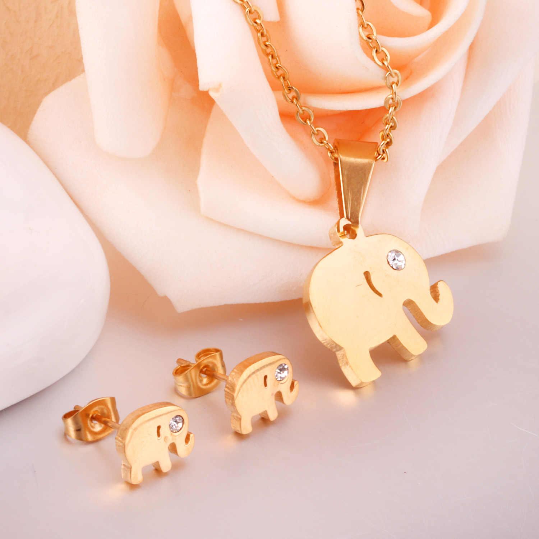 LUXUKISSKIDS Dubai di Cerimonia Nuziale Africana Set di Gioielli In Oro CZ Elefante Collane con pendente Orecchini Per Gli Uomini/Donne Gioelleria raffinata e alla moda set