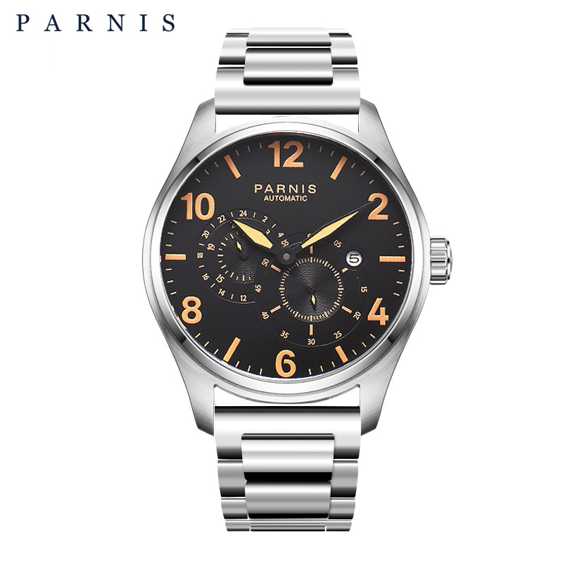 2017 Newly Issue 44mm Parnis Watch Mens Stainless Steel Automatic Watch Mechanical Wristwatch Mesh Strap Luminous 12/24 Hours
