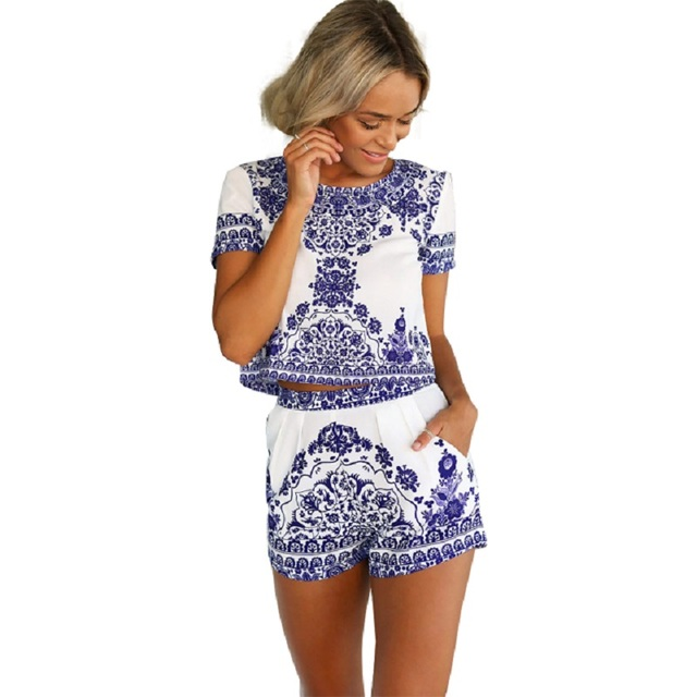 32bdb29e48 2016 New Arrival Two Piece Porcelain Short Jumpsuit Women Crop Top Playsuit  Vintage Tropical Style Party