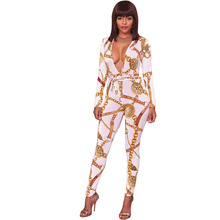 2018 Sexy V Neck Women Jumpsuits Autumn Long Sleeve Lace Up Waist Bodycon Overalls Club Outfit Rompers Womens Streetwear