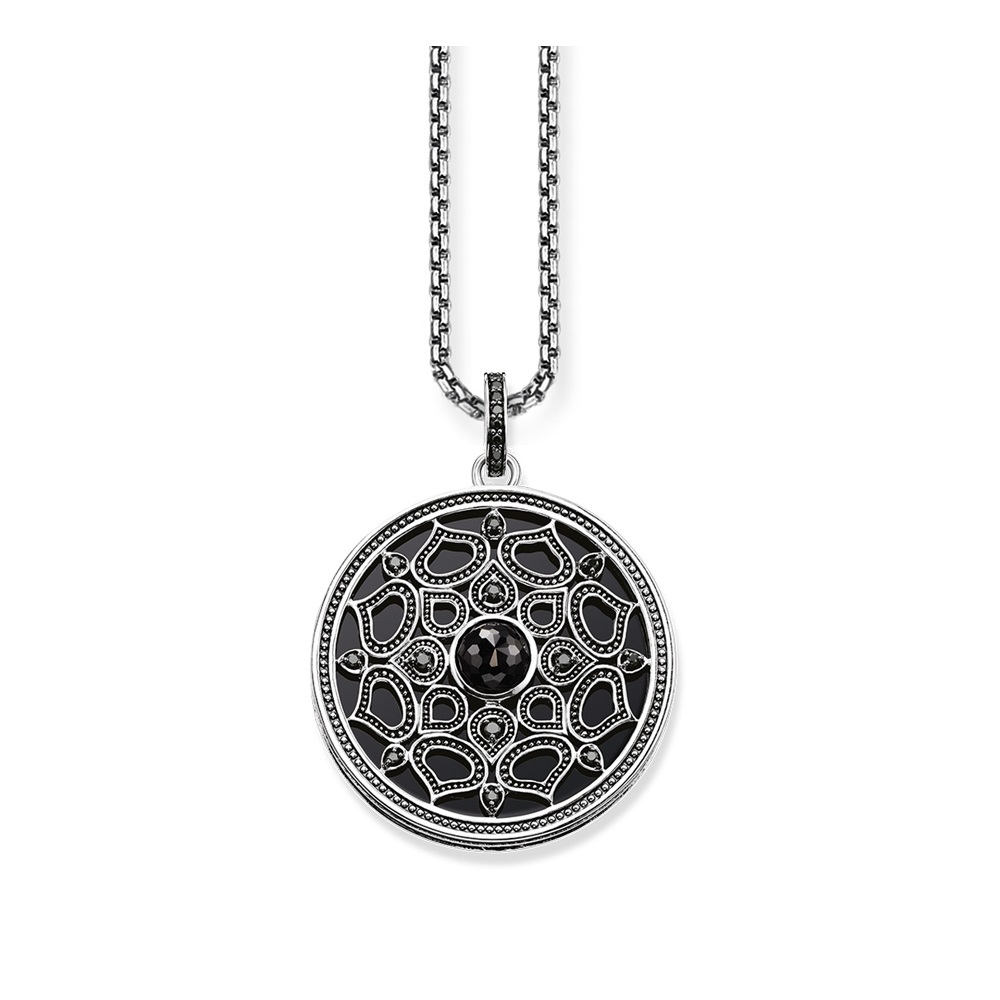 Black Lotus Disc Pendant & Necklaces For Women Girl,2019 New Glam 925 Sterling Silver Link Chain Fashion Jewelry Gift Bijoux