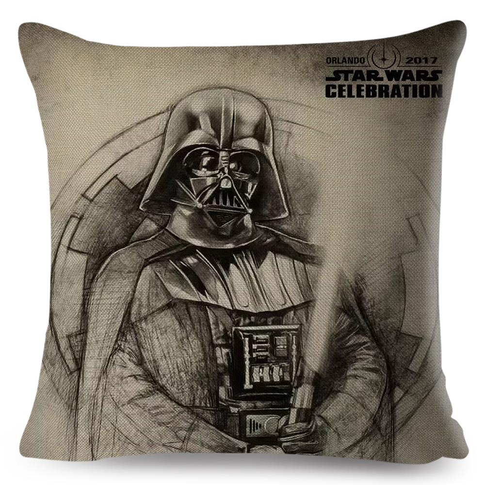 Star Wars Cushion Cover Decor Yoda Darth Vader Splatter Art Pillowcase For Car Sofa Linen Beige Pillow Case 45x45cm