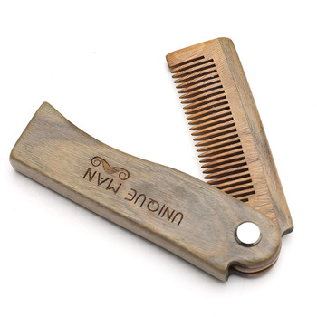 Natural Green Sandal wood Fold Comb Hair Comb For Men Beard Care  Anti-static Wooden Comb Hair Care Tools Hair Brush 1pc 1