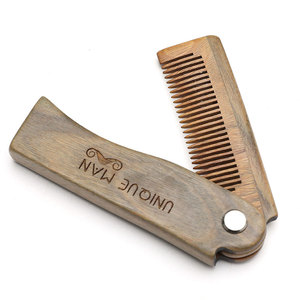 Natural Green Sandal wood Fold Comb Hair Comb For Men Beard Care Anti-static Wooden Comb Hair Care Tools Hair Brush 1pc(China)