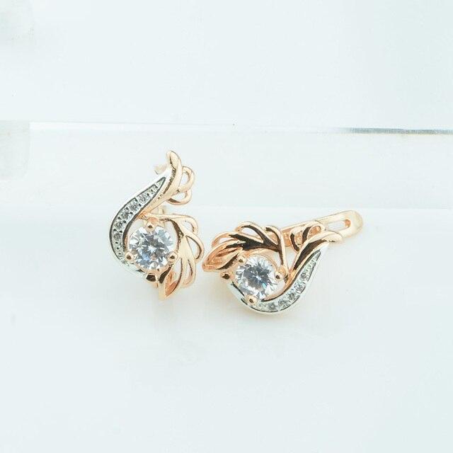 Fj Women White Cubic Zirconia Stone Earrings Dangle Jewelry 585 Gold Color Flowers Shaped