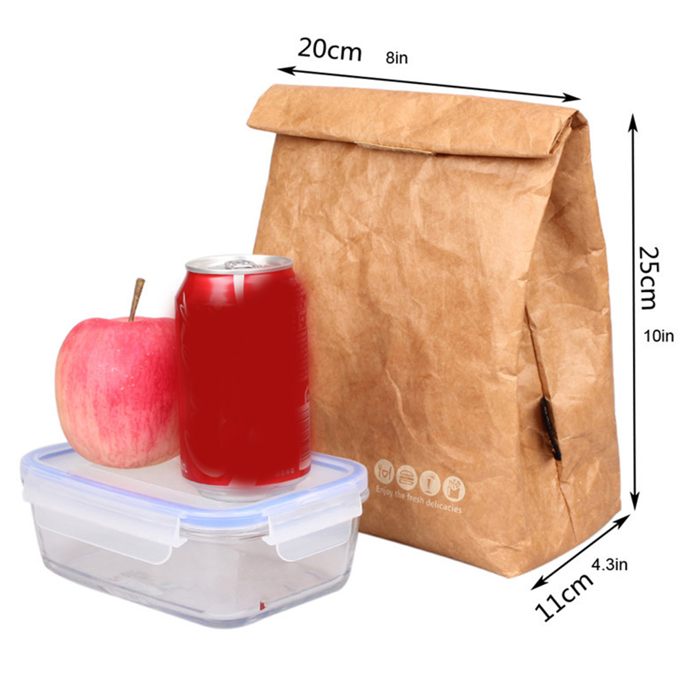Foldable Reusable Leakproof Food Container Large Capacity Lunch Bag Waterproof Thermal Insulation Kraft Paper Aluminum Foil
