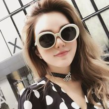 Kurt Cobai style Oval UV400 Sunglasses Women Vintage retro round Frame white mens Sun glasses red Hip Hop Clear