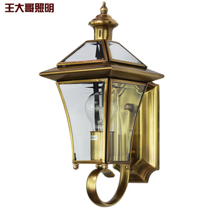 European style full copper wall lamp landscape garden outdoor corridors balcony retro water-proof outdoor lighting цена