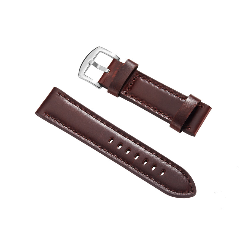 New Fashion Durable High Quality 22mm 24mm Soft Sweatband Black Brown Genuine Leather Strap Pin Buckle Wrist Watch Bands new mens genuine leather watch strap bands bracelets black alligator leather 18mm 19mm 20mm 21mm 22mm 24mm without buckle