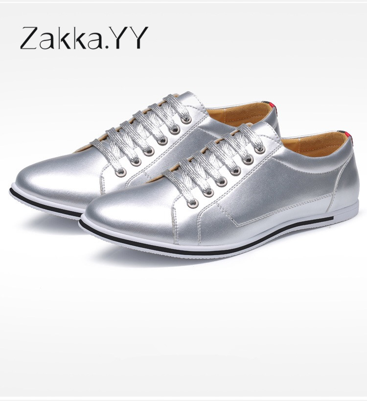 Gold Shoe Men Casual 2018 Spring Autumn Mens Designer Flat Shoes Genuine Leather Elegant Leisure Shoes British Style big size50