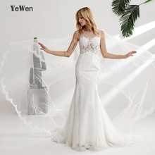 YeWen Vintage Mermaid Wedding Dresses Full Length Train
