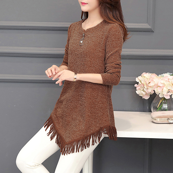 Autumn Winter Top Femme Vintage Tassel Tunic Blouse Women Korean Fashion Plus Size Long Sleeve Female Blouse Shirt Blusas Mujer 3