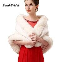 17014 New Lady Ivory Faux Fur Wrap Wedding Shrug Bolero Stole Jacket Bridal Shawl 2015 New