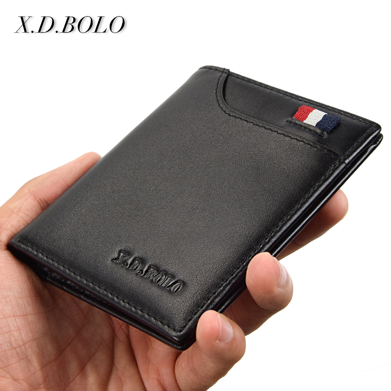 XDBOLO Fashion Genuine Leather Men Small Wallets Thin Mini Male Card Holders Purse Slim Wallet Men leather for Money and Cards