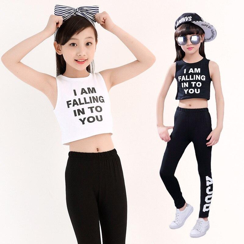 Kids Slim Hip Hop Clothing Clothes Dance Costume Set For Girls Crop Tank Tops Leggings Pants Jazz Ballroom Dancing Streetwear