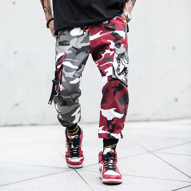 2018 New Multi-pocket Hip Hop Pants Men Military Casual Jooger Cargo Pants Match Color Drawstring Loose Camouflage Pants