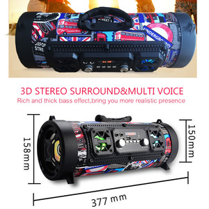 Image 2 - 2018wireless backpack small round speakers bazooka Multimedia speaker  music player Boom box sound system with Fm radio