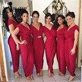 Bainha Com Decote Em V Vinho de Borgonha Da Dama de Honra Vestidos Plissados Caixilhos Tornozelo Comprimento Longo Vermelho vestido de Festa Vestido de Noiva Barato transformador