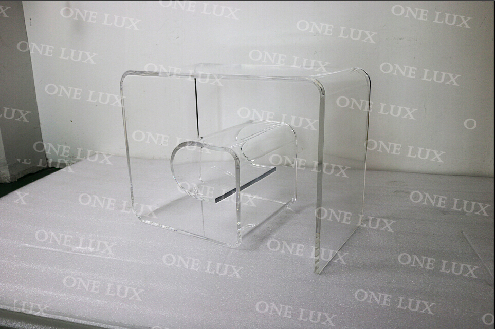 ONE LUX  Acrylic Mid-Century Modern Clear Geometric Spiral Coffee Table/Greek Key Style Lucite Side Table,Perspex Curling Tables one lux waterfall acrylic lucite lounge sofa table plexiglass waiting room magazine side coffee corner tables