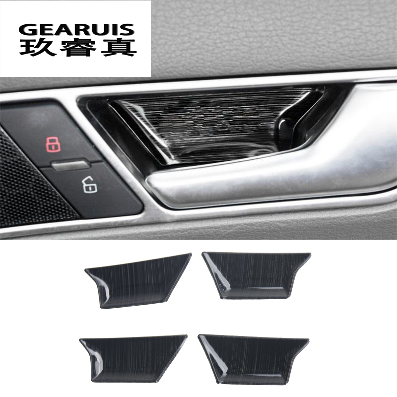 Car styling Interior Door Handle frame Covers Trim Door Bowl stainless steel Stickers decoration for Audi A6 C6 auto accessories