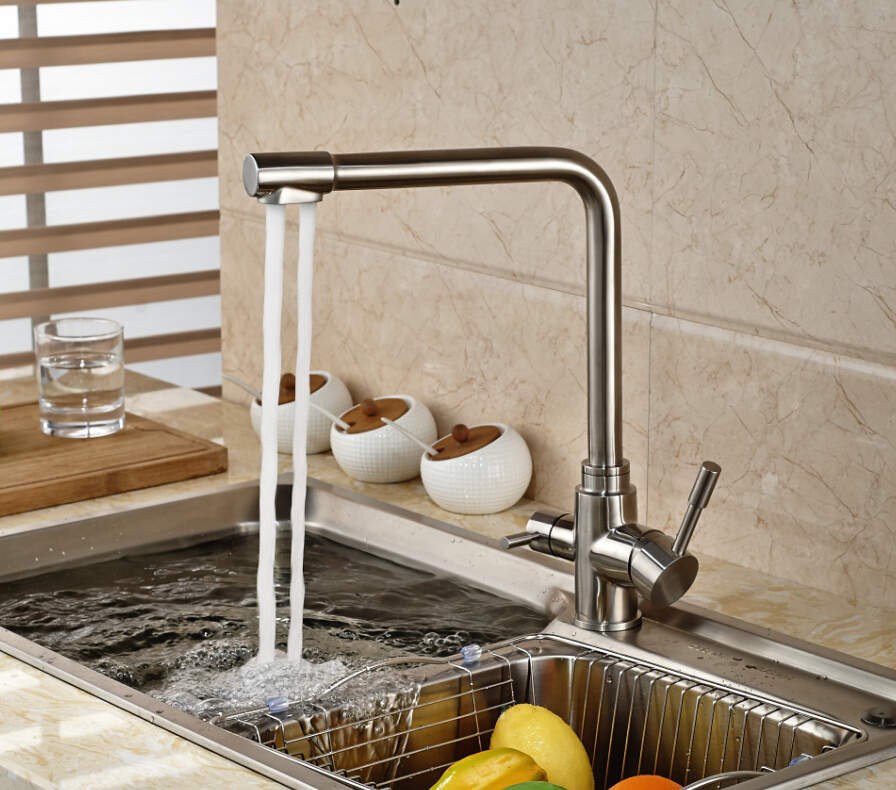 Brushed Nickel Kitchen Faucet Vessel Sink Mixer Tap Pure Water Swivel Spout Deck Mounted