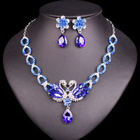 New Fashion Silver Plated Crystal Bridal Jewelry Set For Brides Swan Necklace Earring Wedding Party Accessories