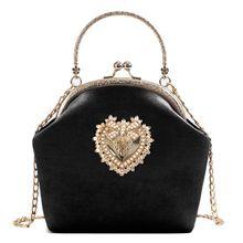 Bolso de noche, bolso de mano de novia, bolso de mano de terciopelo para mujer, diseño de corazón Vintage