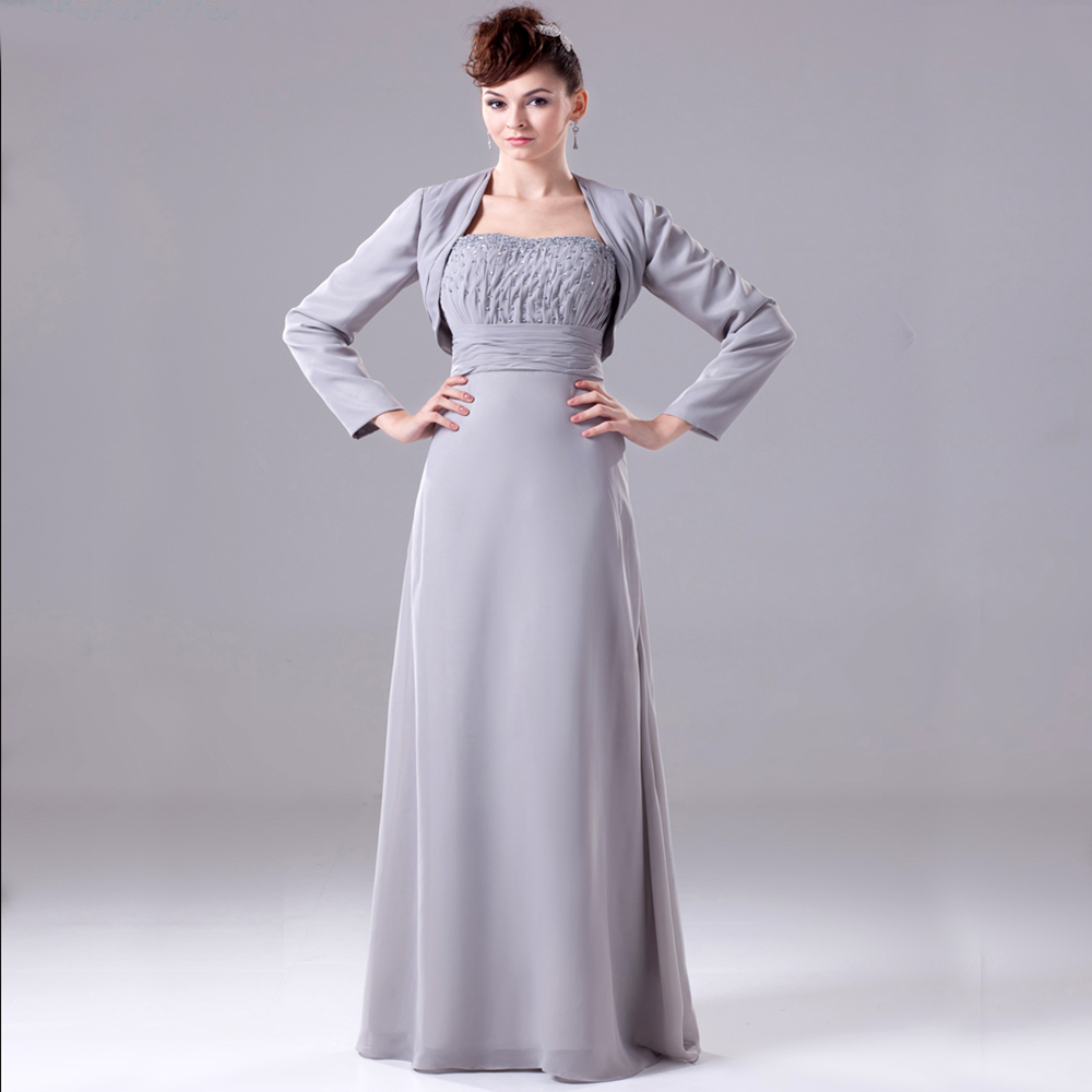wedding mother dresses silver grey chiffon pant suit beaded mother of the bride dresses with jacket